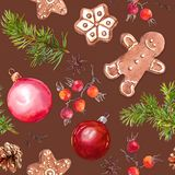 Babioles de Noël, biscuits de pain de gingembre, branches d'arbre de Noël et baies rouges Configuration sans joint watercolor illustration stock