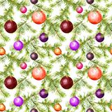 Babioles de Noël, brindilles d'arbre de sapin Configuration sans joint pour la conception de Noël watercolor illustration stock
