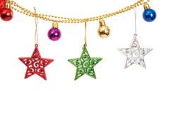 Babioles et étoiles de Noël Image libre de droits