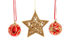 Babioles et étoile de Noël Photo stock