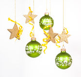 Babioles vertes de Noël Image libre de droits
