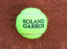 Babolat Roland Garros 2015 tennis ball at Le Stade Roland Garros in Paris, France Royalty Free Stock Photos