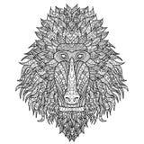 Baboon επικεφαλής τυποποιημένος στο ύφος zentangle ελεύθερη απεικόνιση δικαιώματος