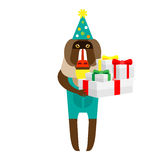 Baboon clown with gifts Royalty Free Stock Photo