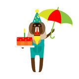 Baboon clown with umbrella and cake Stock Images