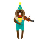 Baboon clown with violin Stock Photo