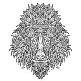 Baboon head stylized in zentangle style. Stock Photo