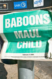 Baboon Mauls Child newspaper headline in Cape Town, South Africa Stock Photo