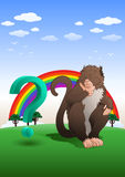 Baboon monkey sitting with question mark in nature background Stock Photos