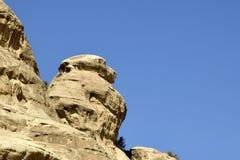 Baboon rock in Little Petra, Jordan. Stock Photos