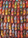 Babouche magnets. The Moroccan slipper, known as the Babouche, is a traditional shoe worn all over North Africa.  In the souks of Marrakech, immitation magnets Stock Photography