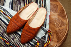 Babouche. Traditional moroccan souvenirs : leather babouche Stock Images