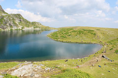 Babreka Lake. An aerial view of Babreka lake - one of the famous Seven Rila Lakes, Bulgaria Royalty Free Stock Photos