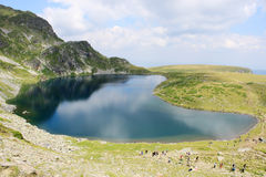 Babreka Lake. An aerial view of Babreka lake - one of the famous Seven Rila Lakes, Bulgaria Royalty Free Stock Images