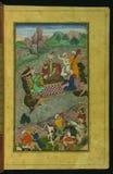 Babur, during his second Hindustan campaign, riding a raft from Kunar back to Atar, from Illuminated manuscript Baburnama (Me Royalty Free Stock Images