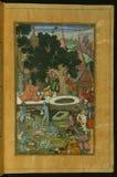 Babur and his warriors visiting the Hindu temple Gurh Kattri (Kūr Katrī) in Bigram, from Illuminated manuscript Baburn Stock Photography