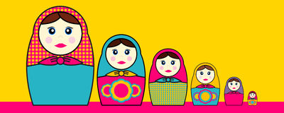 Babushka Dolls. In various sizes and designs Royalty Free Stock Images
