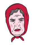 Babushka. Grandmother old woman red lips angry face Royalty Free Stock Photo