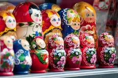 Babushka (Matryoshka) dolls. Many babushka (Matryoshka) dolls on display - souvenir from Russia or Hungary Stock Photography