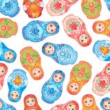 Babushka (matryoshka) seamless pattern. Traditional Russian wood. En nesting doll with painted flowers. Folk arts and crafts. Vector illustration in cartoon Royalty Free Stock Photo
