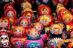Babushka Russian traditional nesting dolls in various Royalty Free Stock Photography