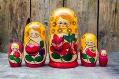 Babushkas or matryoshkas dolls. Stock Photo