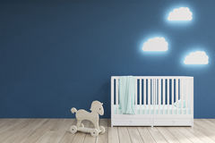 Baby's room, blue walls. Baby's room interior with a crib, cloud shaped lamps and a toy horse. Blue walls. Concept of minimalism. 3d rendering. Mock up Stock Photos