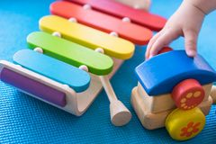 Baby's toys playing for learning Royalty Free Stock Images