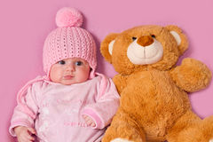 Baby with  ��teddy bear Stock Photos