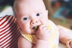Baby& x27; 哺养的s第一食物 免版税图库摄影