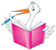 Baby 008. Illustration for children.Stork reading book Stock Image