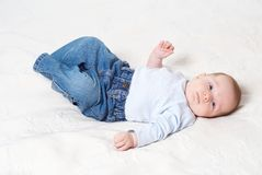 Baby. Lying baby Stock Images