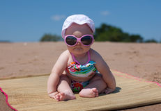 Baby. Happy baby on the beach Royalty Free Stock Images