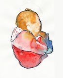 Baby. Hand made picture, water colors, little baby with the bottle Royalty Free Stock Image