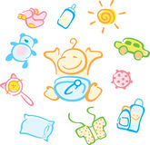 Baby. Vector set of small fun cheerful baby and his things Stock Photos