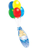 Baby. Child and balloon, fly and birth Royalty Free Stock Images