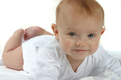 Baby. A baby in white on a white background Stock Photography
