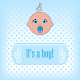 Baby. Cute baby boy arrival announcement card Royalty Free Stock Photography