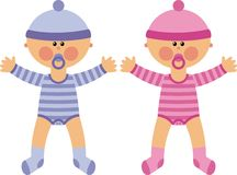 Baby. Two little babies baby - a boy and a girl. Twins Royalty Free Stock Images