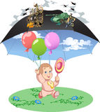 Baby. In the sky there is a war, but the baby is securely nestled symbolic umbrella.Net child's world under the umbrella.Child happy and carefree.In the hands of Royalty Free Stock Photo