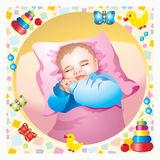Baby. The baby smiles in his sleep Royalty Free Stock Photo
