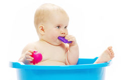 Baby. Sitting in a blue tub royalty free stock photography