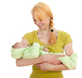 Baby 2 month boy with mother Stock Photo
