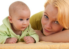 Baby 2 month boy with mother Royalty Free Stock Image