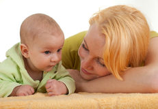 Baby 2 month boy with mother Royalty Free Stock Photos