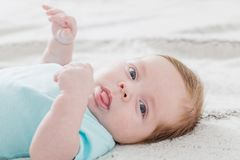 Free Baby 2 Months On Bed Stock Photos - 142576193