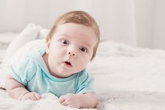 Free Baby 2 Months On Bed Stock Photography - 153530192