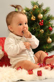 Baby. Cute little girl with presents Royalty Free Stock Images
