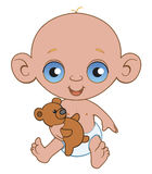 Baby. A baby with plush bear Vector Illustration