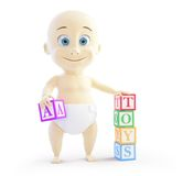 Baby 3d alphabet blocks Royalty Free Stock Images